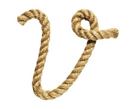 old natural fiber rope bent in the form of letter V Stock Photo