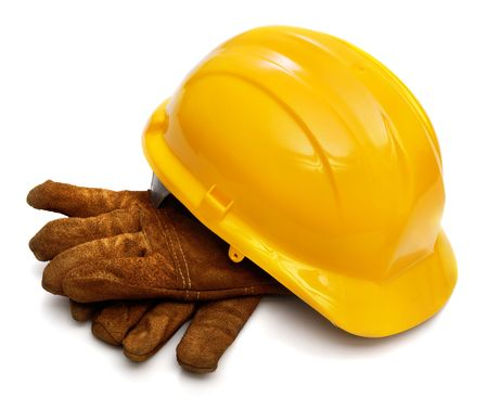 Yellow hardhat and old leather gloves isolated on white background Stock Photo - 3838795