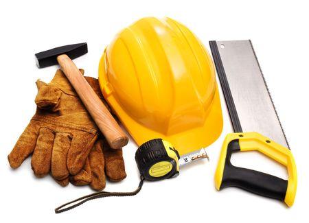 hard hat, gloves, hammer, tape-measure photo