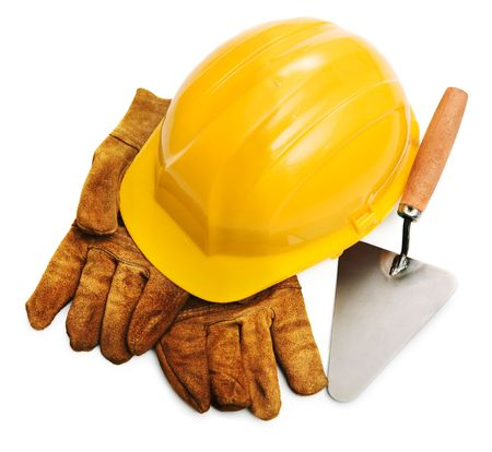 hard hat, gloves and trowel isolated on white background Stock Photo - 3838802