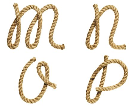 attached: old natural fiber rope bent in the form of letter M, N, O, P