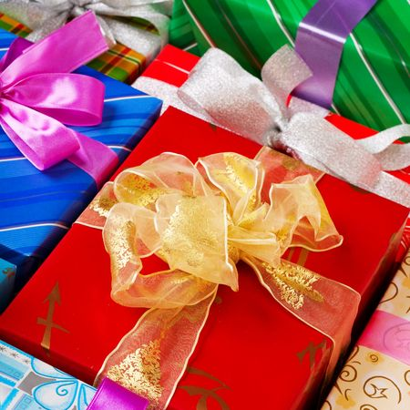 Close up view of the gifts box background Stock Photo - 4020491