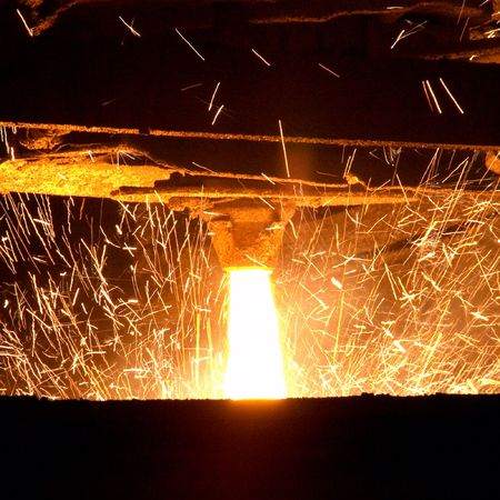 foundry: Molten steel pouring  Stock Photo