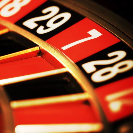 lasvegas: Close up view of the roulette whill, seven Stock Photo