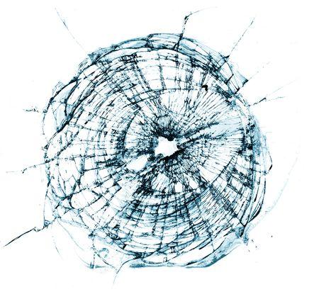 windshield: Broken window, looks like a bullet hole.