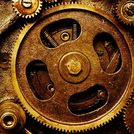 mechanism: close up view of gears from old mechanism Stock Photo