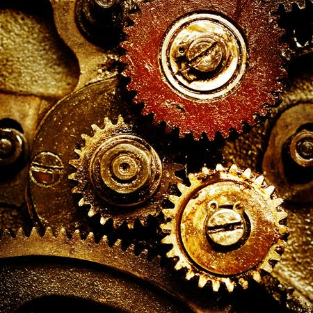 rusty: close up view of gears from old mechanism Stock Photo