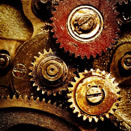 oxidado: Vista de cerca de los artes de los antiguos mecanismo