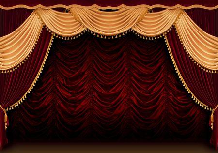letras musica: Roja teatro cortina Foto de archivo