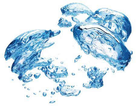 Bubbles forming in blue water, isolated