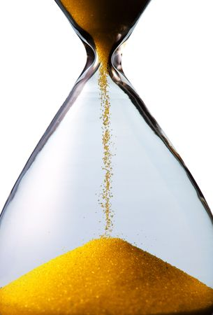 sand timer: hourglass closeup shot (isolated - white background) Stock Photo