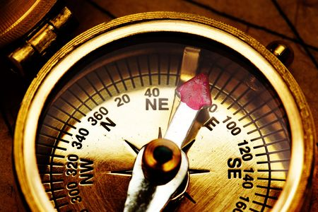 Close up view of the compass on old paper Stock Photo - 4587036
