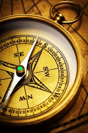 Close up view of the compass on old paper Stock Photo - 4586999