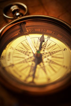 Close up view of the compass on old paper Stock Photo - 4586950