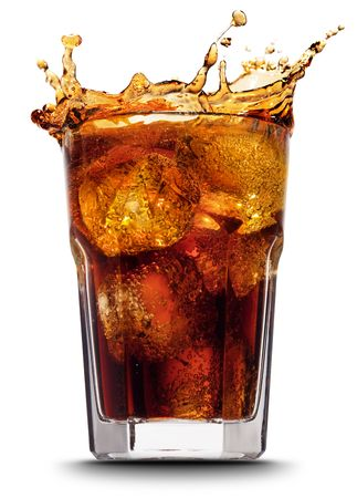 soda splash: Ice cube droped in cola glass and cola splashing