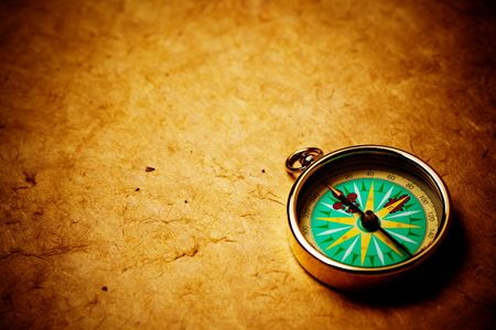 Close up view of the compass on old paper Stock Photo - 4593056