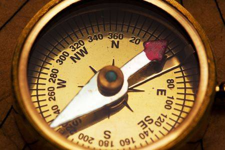 Close up view of the compass on old paper Stock Photo - 4889536