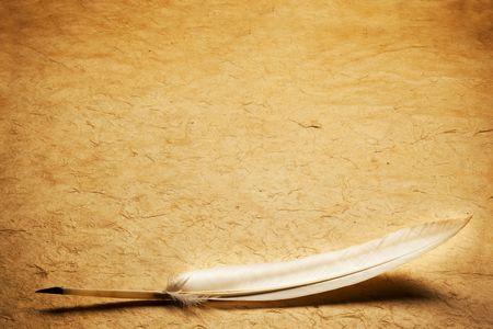 pluma de escribir antigua: de plumas sobre un fondo vac�o de la forma de la letra Foto de archivo