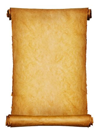 Vintage roll of parchment background isolated on white Stock Photo