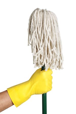 A gloved hand holding a mop isolated on white.