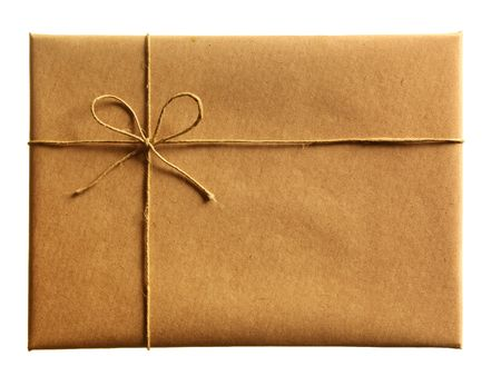 envelop: front of brown envelop on the white background Stock Photo