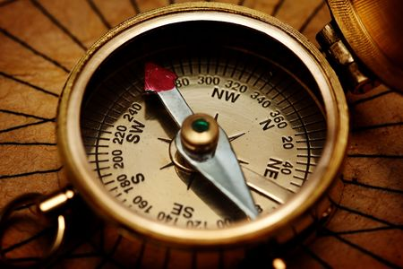 Close up view of the compass on old paper Stock Photo - 5126036