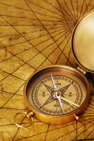 nautical map: Close up view of the compass on old paper Stock Photo