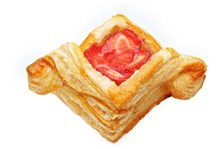 Beautiful Strawberry pastry isolated on white background photo