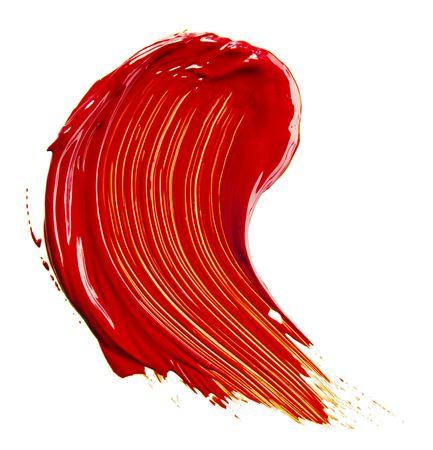 refurbishing: Vassoio di vernice rossa isolato over white  Archivio Fotografico