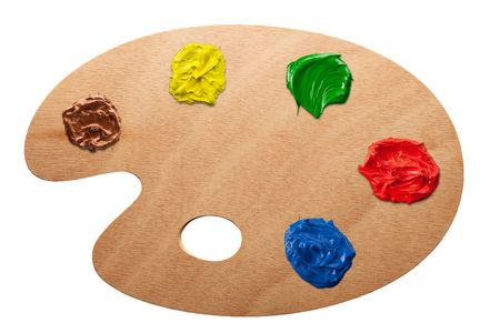 Artists palette with multiple colors isolated photo