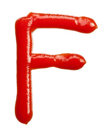 isolated Letter of ketchup alphabet on white photo