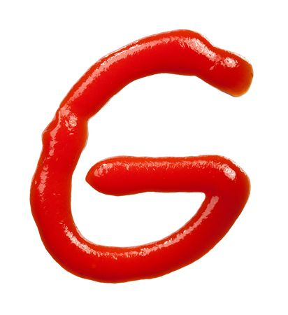 isolated Letter of ketchup alphabet on white Stock Photo