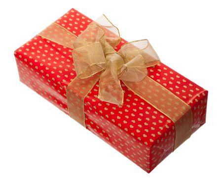 present box with ribbon isolated on white background photo