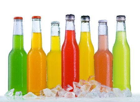 food and beverages: Close up view of the bottles in ice Stock Photo