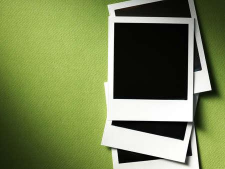 family photo: photo frames on cardboard
