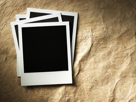 polaroid style photo frames on cardboard photo