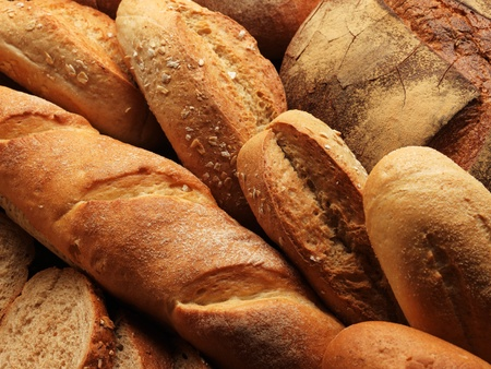 french bread: fresh bread on the wooden