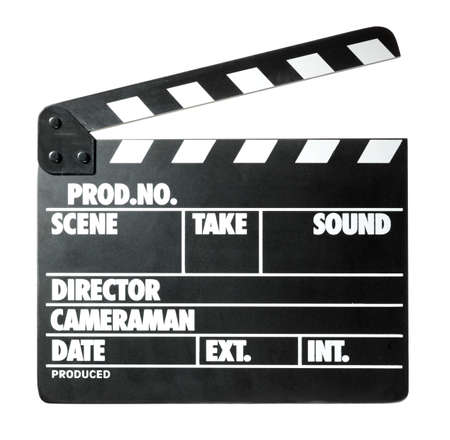 movie production: Clapper board on white background