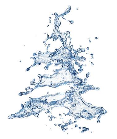 coule: Arbre de No�l �claboussures d'eau isol� sur blanc