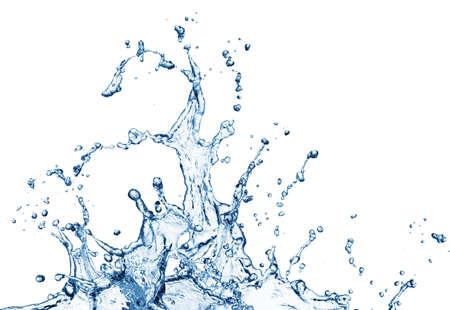 agua: salpicaduras de agua azul sobre fondo blanco Foto de archivo
