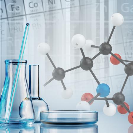 lab equipment: Laboratory glassware on color background