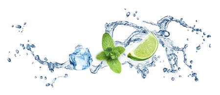 fruit in water: Ice cubes, mint leaves, lime and water splash on a white background. Mojito.