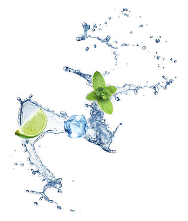 Ice cubes, mint leaves, lime and water splash on a white background. Mojito. photo