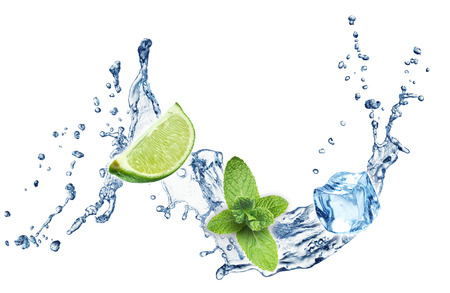 lime fruit: Ice cubes, mint leaves, lime and water splash on a white background. Mojito.