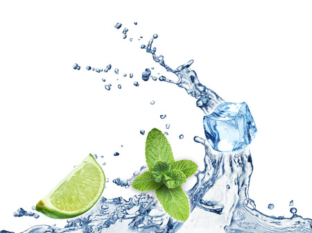 lemon lime: Ice cubes, mint leaves, lime and water splash on a white background. Mojito.