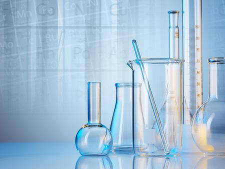 glassware: Laboratory glassware on color background
