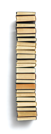 spines: Letter I formed from the page ends of closed vintage hardcover books standing on a white background  Stock Photo