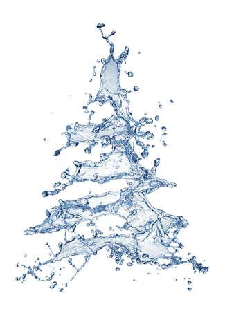 Christmas water splash tree isolated on white Stock Photo