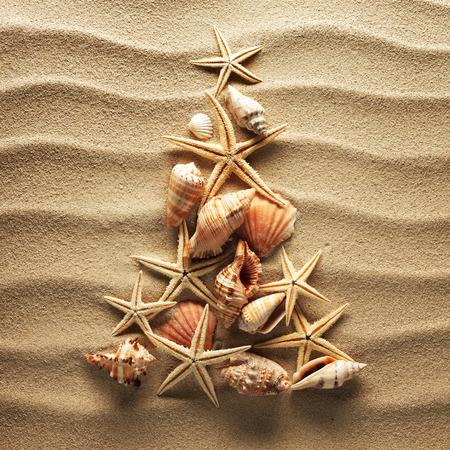 Neujahrsfichten von Muscheln auf Sand Hintergrund