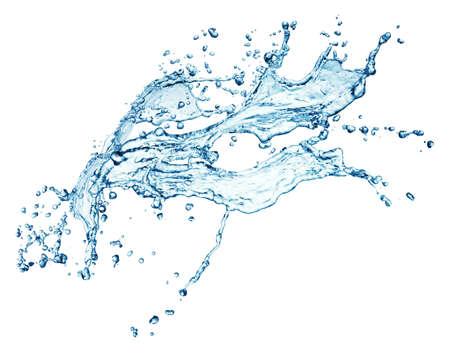 salpicaduras de agua azul sobre fondo blanco Foto de archivo